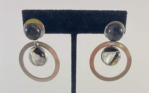 Double Hanging Dichroic Earrings