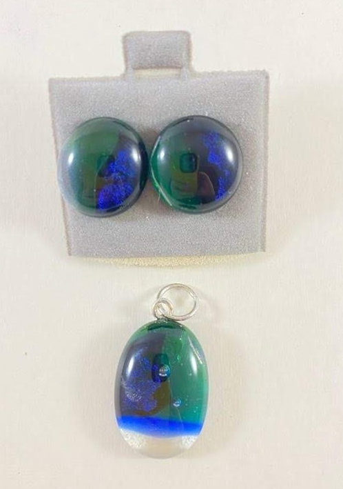 Green, Blue and Purple Earring and Pendant set