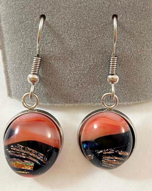 Black, Orange and Gold Hanging Dicho Earrings