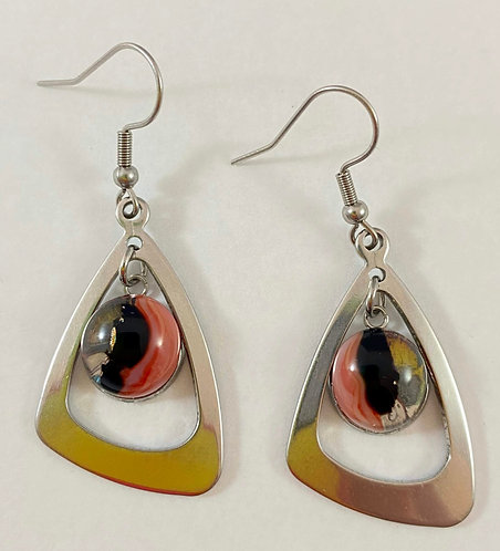 Black, Red and Clear Hanging Earrings