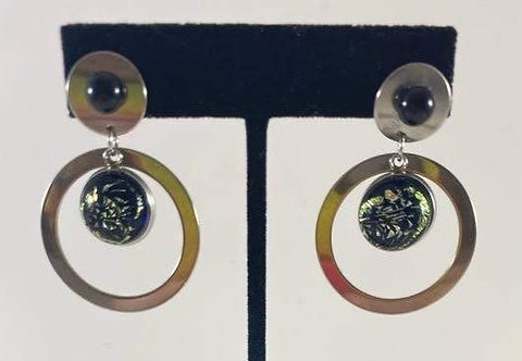 Black and Gold Double Dichro Earrings