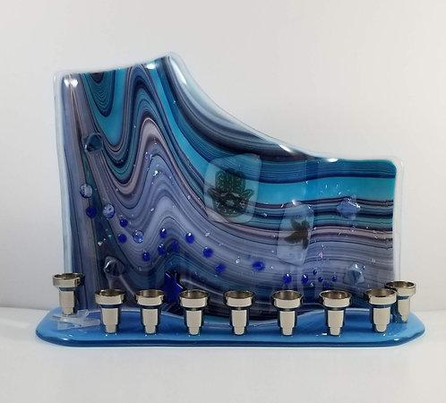 Blue Wave Chanukah Menorah