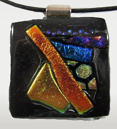 Gold, Blue, Orange, Black and Silver Dichro Pendant