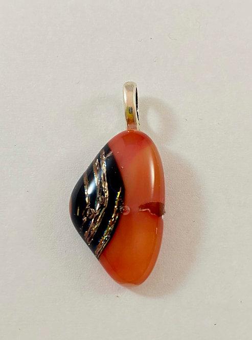 Orange Black and Gold Dichro Pendant
