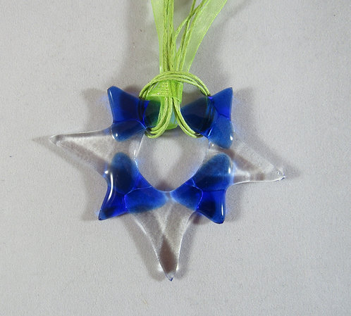 Blue and Clear Star Pendant or Ornament