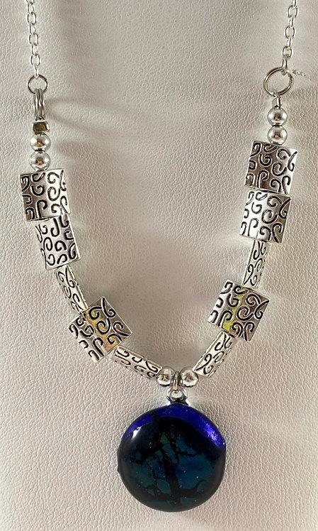 Blue Dichro Necklace