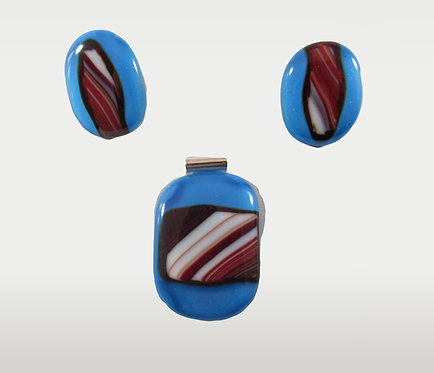 Red and Blue Pendant and Clip on Earring and Pendant Set