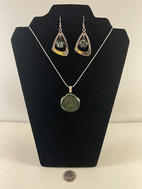 Silver and Gold Dichro Earring and Pendant Set