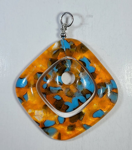 Orange, Yellow and teal Double Pendant