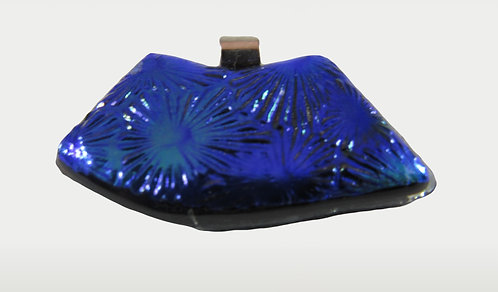 Textured Blue Dichroic Pendant