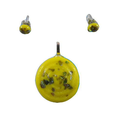 Yellow Silver Sparkled Pendant and Earring Set