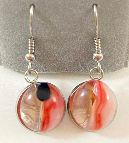 Pink, Red, Black and Clear Hanging Earrings