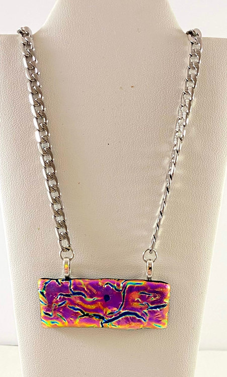 Purple and Many Colors Dichro Necklace with Stainless Steel Chain