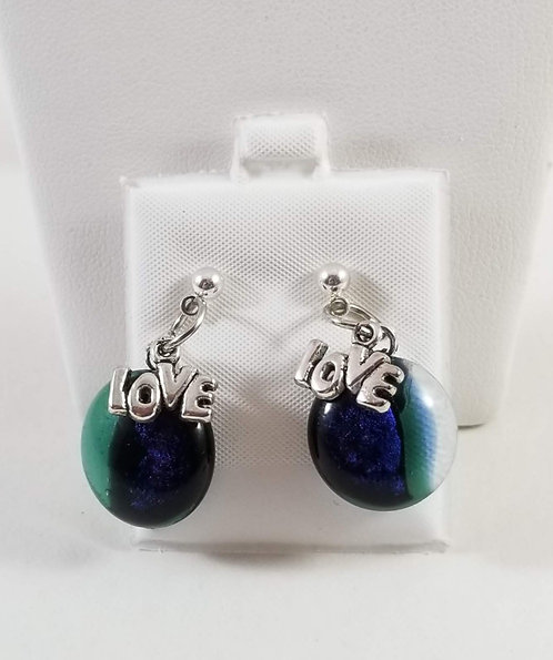 Colorful Dichro Love Earrings