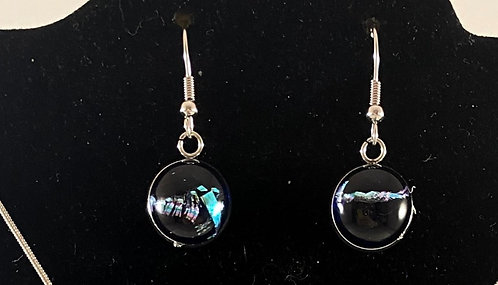 Green, Silver and Black Dichroic Earrings