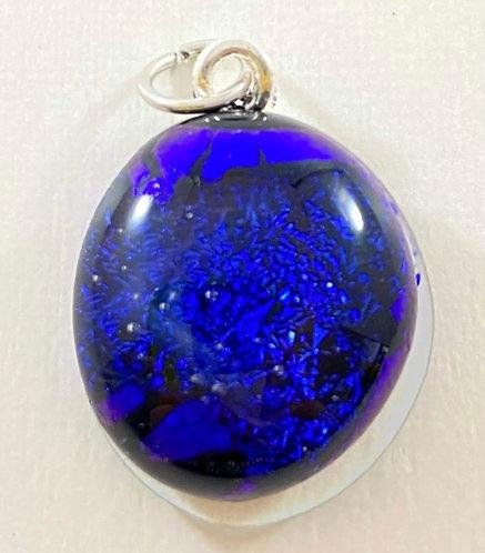 Sparkly Blue Dichroic Pendant