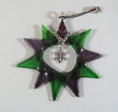 Green and Purple Snowflake in a Star