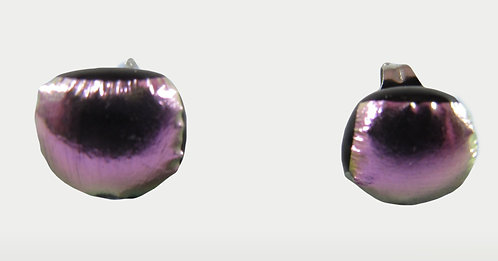 Purple and Silver Dichroic Earrings