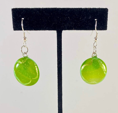 Yellow Dichroic Hanging Earrings