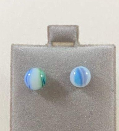 Blue, Green and White Earrings