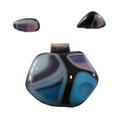 Mosaic Blue and Purple Pendant and Earring Set
