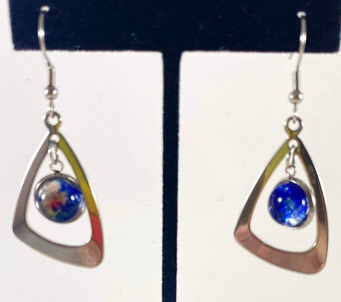 Blue Dichro Hanging Earrings