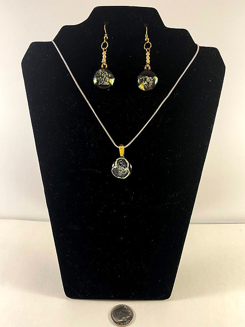 Gold Sparkly Dichro Earring and Pendant Set