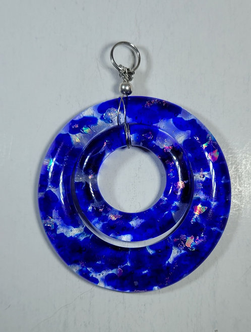 Blue. Clear and Sparkly Double Pendant