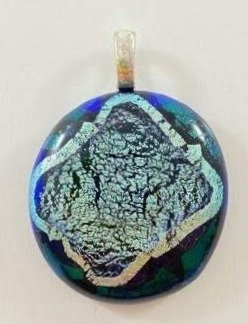 Green and Silver Dichroic Pendant