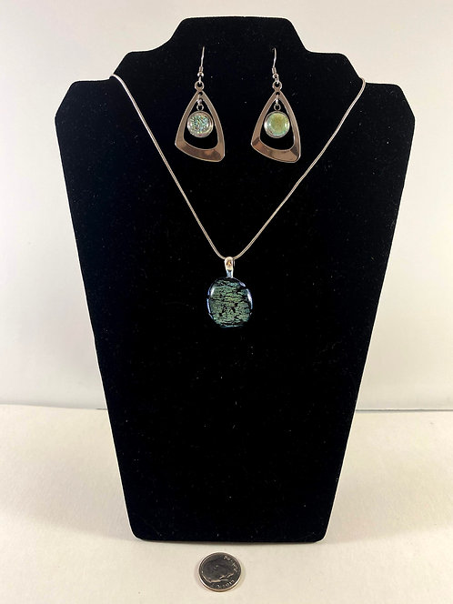 Green and Gold Dichro Earring and Pendant Set