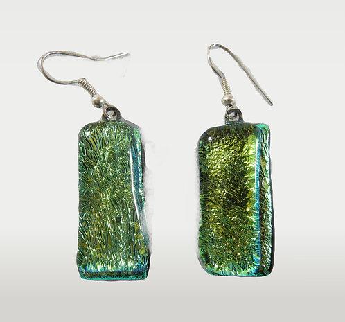 Green Glittery Hanging Earrings