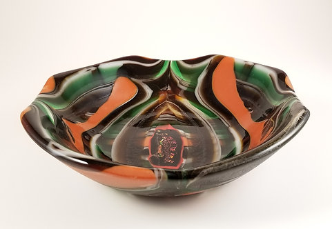 Green Orange and White Bowl