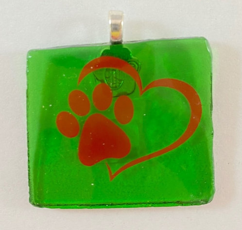 Red and Green Paw Print Pendant