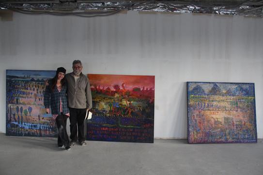 Curator Melissa Starke with artist Lee Romero