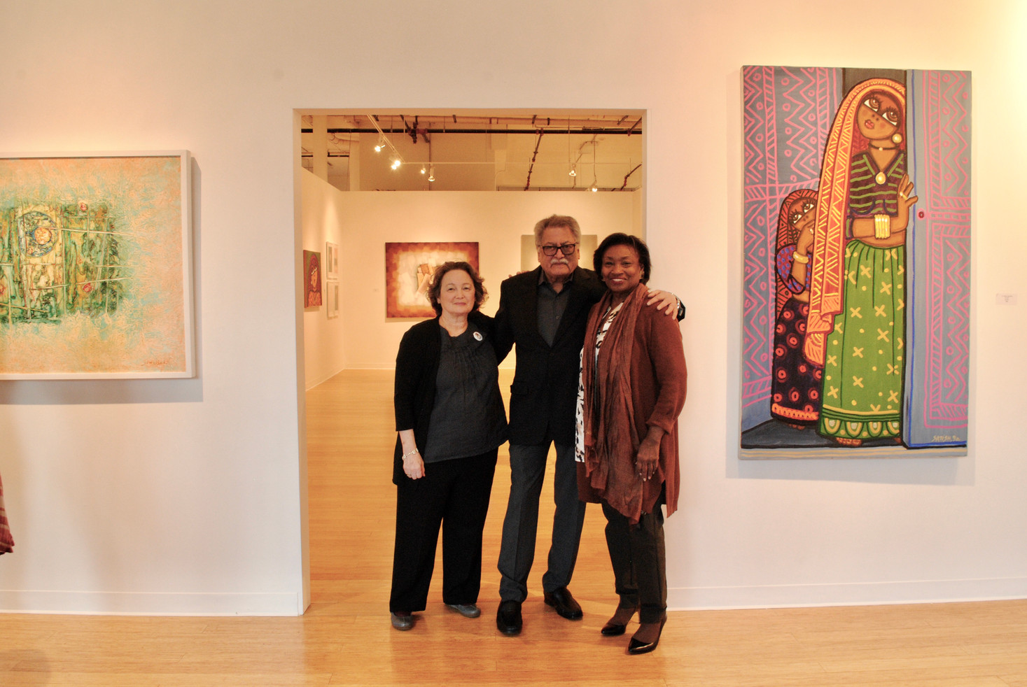 Satish Joshi and wife Terry (left) photographed with New York State Senator Andrea Stewart-Cousins