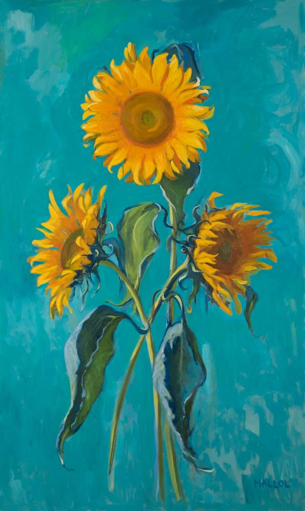 """Sunflowers in Turquoise"""