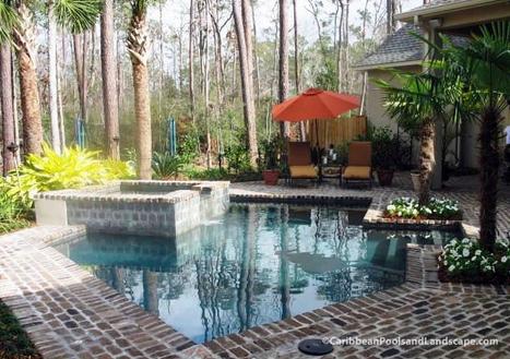 Geometric Spillover Pool Spa Brick Decki