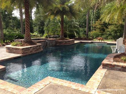 Geometric Spillover Pool Spa Brick Copin