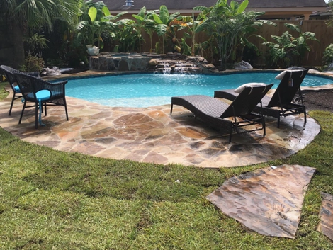 Freeform Concrete Pool Stone Decking Spa