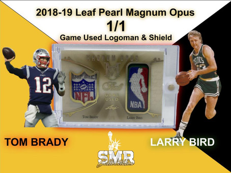 $12K Magnum Opus Tom Brady / Larry Bird Logoman & Shield Patches 1/1 Card