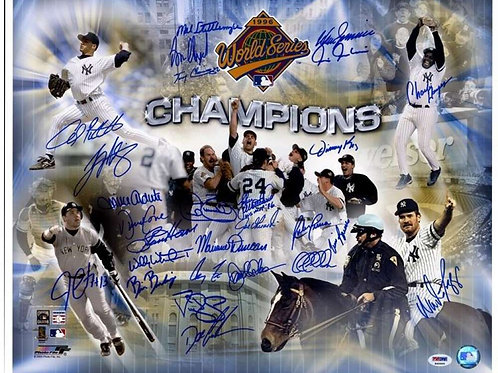 1996 NEW YORK YANKEES TEAM SIGNED WS CHAMPIONS 16X20 POSTER PSA/DNA LOA PC1064