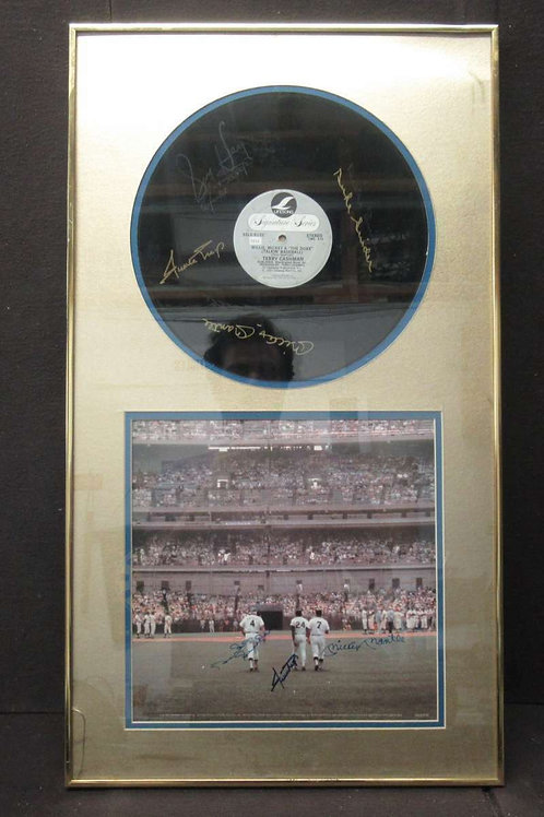 MICKEY MANTLE/MAYS/SNIDER SIGNED FRAMED 17X30 VINYL ALBUM AND ALBUM COVER