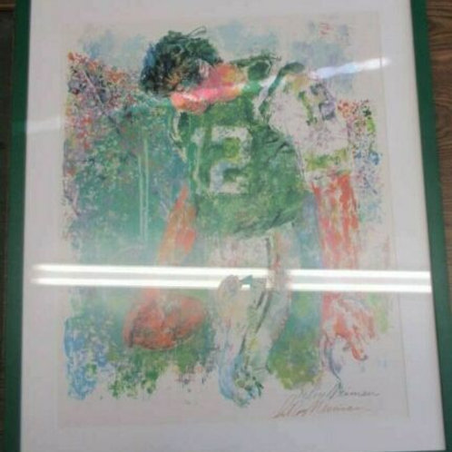 JOE NAMATH LEROY NEIMAN SIGNED 24X28 PAINTING FRAMED JETS JSA COA JSA COA PH1012