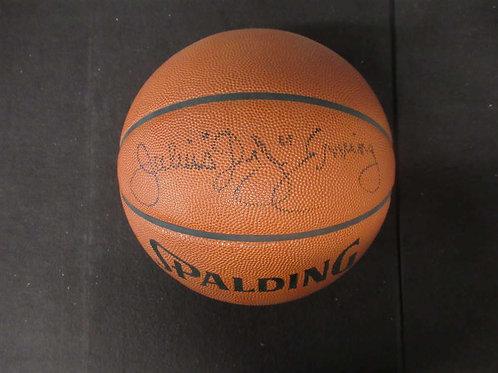 """JULIUS """"DR. J"""" ERVING SIGNED FULL SIZE SPALDING BASKETBALL JSA COA 76ERS BL530"""