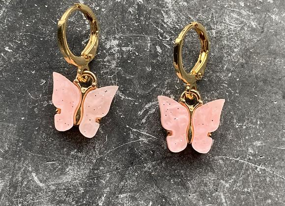 Mini hoops vlinder roze
