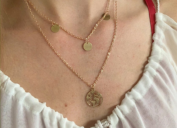 Double layer coins world necklace