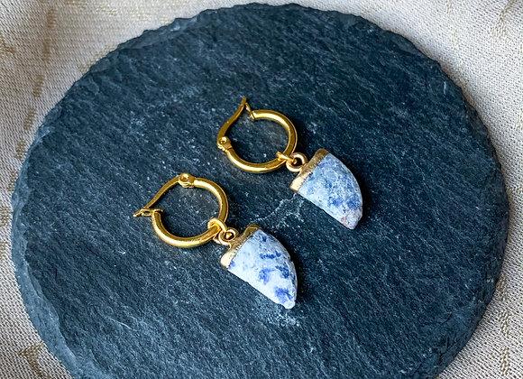 Creolen hoops blauw marmer