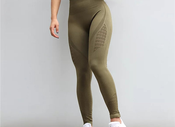 Bella army green gym legging