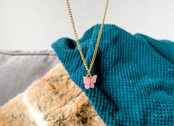 Ketting vlinder roze