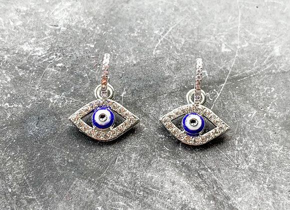 Mini hoops blue eye zilver